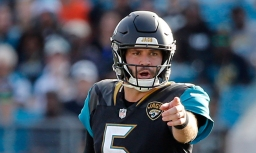 Dec 17, 2017; Jacksonville, FL, USA; Jacksonville Jaguars quarterback Blake Bortles (5) points and calls a play against the Houston Texans during the second half at EverBank Field. Mandatory Credit: Kim Klement-USA TODAY Sports